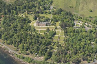 Oblique aerial view of Brodick Castle and walled garden, looking to the NW.