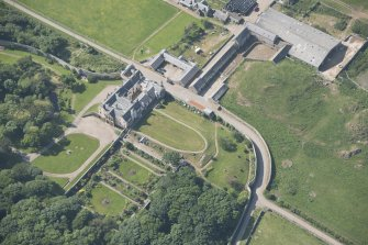 Oblique aerial view of Sandside House and walled garden, looking to the WNW.