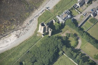 Oblique aerial view of Thurso Castle, looking to the SNE.