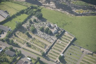 Oblique aerial view of Halkirk Old Parish Church, looking to the NW.