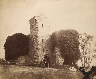 View of castle with two ladies in crinolines. Titled: 'Cluny Crichton, Raemoir.' PHOTOGRAPH ALBUM No.25 : INNES OF COWIE ALBUM.