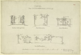 Section and elevations of Dunstaffnage Castle Chapel.