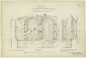 Elevations, section of window, south side of nave and east end of Dunstaffnage Castle Chapel.
