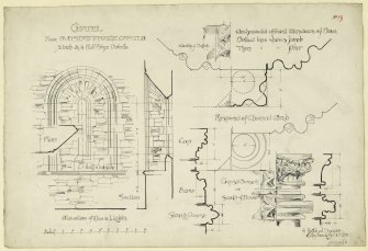 Plan, interior and exterior elevations, section of windows in nave of Dunstaffnage Castle Chapel.