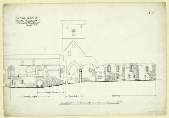Plan showing North elevation of church, monastic buildings and chantry chapel Iona, St Mary's Abbey. Titled. 'Iona Abbey: North Elevation of Monastic Buildings, Sheet no.8.'                                                                                                                                                                           Iona, St Mary's Abbey. Photographic copy of plan of long section through transepts to chapter house looking East & West.    Photographic copy of plan of church and conventual buildings.