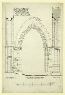 Plan of elevation to tower arch to North transept looking North of Iona, St Mary's Abbey. Titled. 'Iona abbey, 1/2 inch Detail of North Transept Arch. No.16.' Signed. 'Revised by A.Muir. Signed in Pencil. 'JW 1875.'                                                                                                                                                                         Iona, St Mary's Abbey. Photographic copy of plan of long section through transepts to chapter house looking East & West.    Photographic copy of plan of church and conventual buildings.