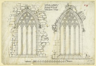 Plan showing exterior and interior elevations of East window of chancel of St Mary's Abbey, Iona. Titled. 'Iona Abbey. Detail of East Window No. 23.' Signed and Dated. 'JW. 1875.'                                                                                                                                                                   Iona, St Mary's Abbey. Photographic copy of plan of long section through transepts to chapter house looking East & West.