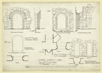 Plan showing details of doors of East Wall of Cloisters, including Doors to Transept and Chapter House of St Mary's Abbey, Iona. Titled. 'Iona Abbey. No.27. Doors in East Wall of Cloisters.' Signed and Dated. 'J.W. 1875.'                                                                                                                                                             Iona, St Mary's Abbey. Photographic copy of plan of long section through transepts to chapter house looking East & West.