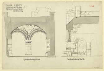 Plan showing sections through chapter house looking West and North of St. Mary's Abbey, Iona. Titled. 'Iona Abbey. Details of Chapter House. 1/2 Inch scale No.18.' Signed and Dated. 'J.W. 1875.' Signed. 'Revised A. Muir 8/00.'                                                                                                                                                           Iona, St Mary's Abbey. Photographic copy of plan of long section through transepts to chapter house looking East & West.