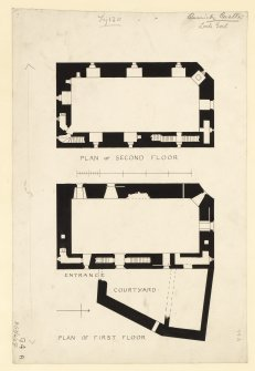 Plan of first and second floors of Carrick Castle. Titled. 'Fig. 120. Carrick Castle. Loch Goil.'