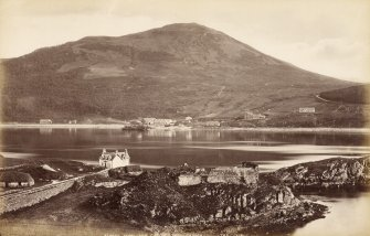 View of Strome Castle across to Stromeferry. Titled: 'Strome Ferry and Castle Loch Carron 786 J.V'. PHOTOGRAPH ALBUM NO 33: COURTAULD ALBUM