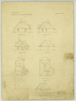"Fingask Castle, North Lodge. Plans, elevations, sections. Insc: ""Fingask Castle Cottage at entrance gates"""