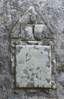Detail of armorial panel on south wall.