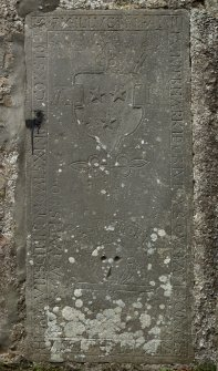 Detail of grave slab on north wall.