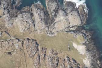 Oblique aerial view of Vaul, Dun Beag, Tiree, looking NNW.