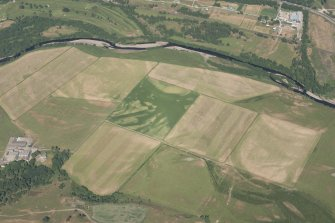 Oblique aerial view of the cropmarks of the pits and the possible souterrain at Nuide Farm, looking NNE.