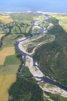 General oblique aerial view centred on the River Spey with Spey Viaduct beyond, looking N.