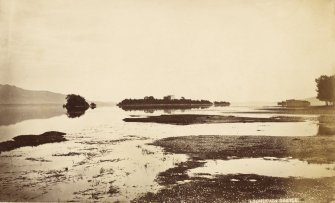 Distant view of castle. Titled: 'Loch Leven Castle'. PHOTOGRAPH ALBUM No.33: COURTAULD ALBUM.