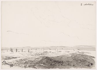 General view of circle from S, with barrow labelled 'hollow of tumulus' in foreground, copied by Dryden 1868 from watercolour by him 1851. 'Stenness large circle' ie Ring of Brodgar