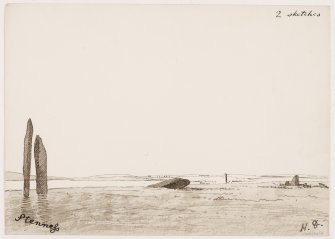 Sketch of circle from SE, with the Watch Stone and the Ring of Brodgar in the distance. Copied by Dryden 1868 from watercolour by him1851. 'Stenness small circle' ie Stones of Stenness