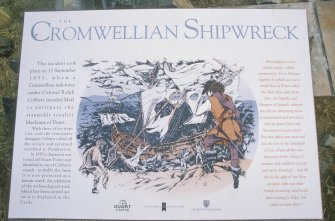 The information board designed by Historic Scotland on the plinth overlooking the wreck-site. (Colin Martin)