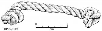 Rope handle with knotted end-stops (DP99/039). Scale 5 centimetres. (Colin Martin)