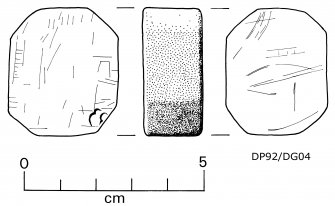 Roughly octagonal block of fine-grained dark-grey stone (DP92/DG04), both faces covered with distinctive scratch-marks. Perhaps a touchstone. Scale 5 centimetres. (Colin Martin)
