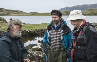 Dr Colin Martin (left), the Project Director, confers on site with Dr David Macfadyen (right), who found the 12th century boat timber in 2000.With them is Gavin Parsons of Sabhal Mor Ostaig, the Gaelic College on Skye, who is advising on place-name studies and other local cultural issues. (Edward Martin)