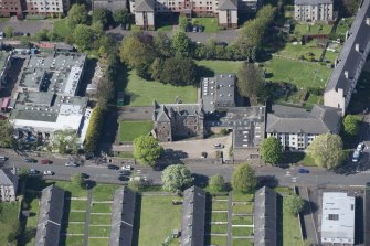 Oblique aerial view of Craigentinny House, looking NW.