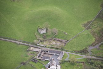 Oblique aerial view of Lag Tower, looking SE.