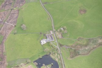 Oblique aerial view of Lag Tower, looking NE.