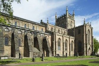 General view of Dunfermline Abbey, looking north east, showing nave and parish church.