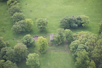 Oblique aerial view of Staneyhill Tower, looking S.