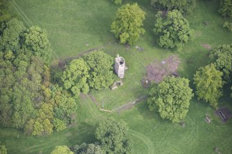Oblique aerial view of Staneyhill Tower, looking NNE.