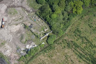 Oblique aerial view of Auchinvole Castle, looking NNE.