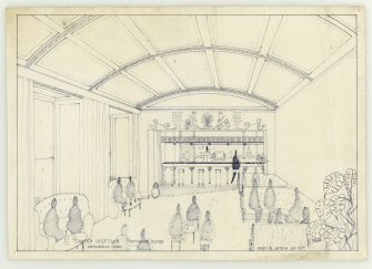 Mechanical copy of illustration for proposed interior scheme, the 'Parthenon Lounge', Cawder Golf Club.