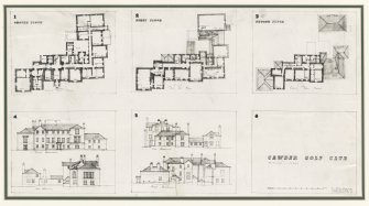 Photographic copy of ground, first and second floor plans; front, rear, east and west elevations of Cawder Golf Clubhouse.