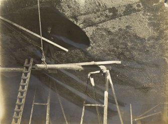 German battleship SMS Baden. Hole in ship's hull for torpedo tube.