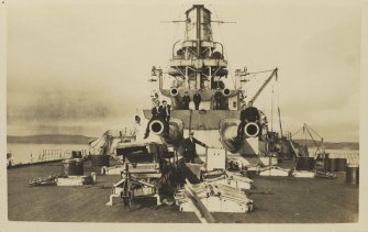 German battleship SMS Baden. Looking forward. Postcard.