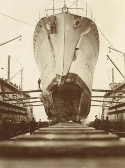 HMS Oracle in the floating dry dock at Invergordon, showing damage to the bow sustained in ramming and sinking the U-boat U44, off Norway in August 1917.