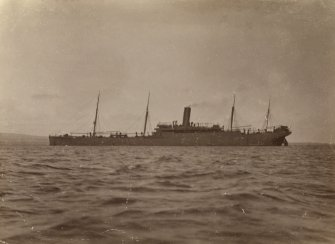 Passenger ship SS Winifredian entering Invergordon after being mined.