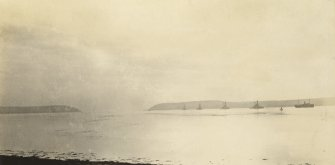 Uncaptioned photograph of five capital ships. Image taken from Invergordon looking out of the Cromarty Firth.
