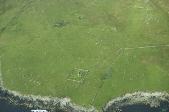 Oblique aerial view of Framgord Chapel, Unst, looking WSW.
