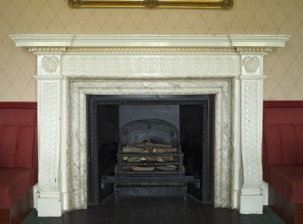 1st floor. Members lounge. Detail of fireplace.