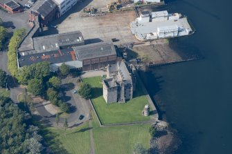 Oblique aerial view of Newark Castle, looking W.