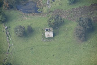 Oblique aerial view of Barr Castle, looking W.