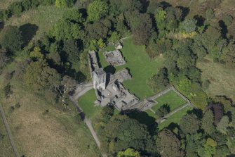 Oblique aerial view of Mugdock Castle, looking NW.