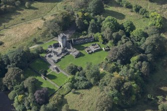 Oblique aerial view of Mugdock Castle, looking SW.