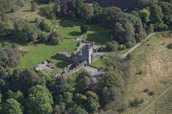 Oblique aerial view of Mugdock Castle, looking E.