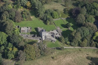 Oblique aerial view of Mugdock Castle, looking NNE.
